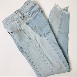 AEO Denim Chewed Hem Skinny Jeans